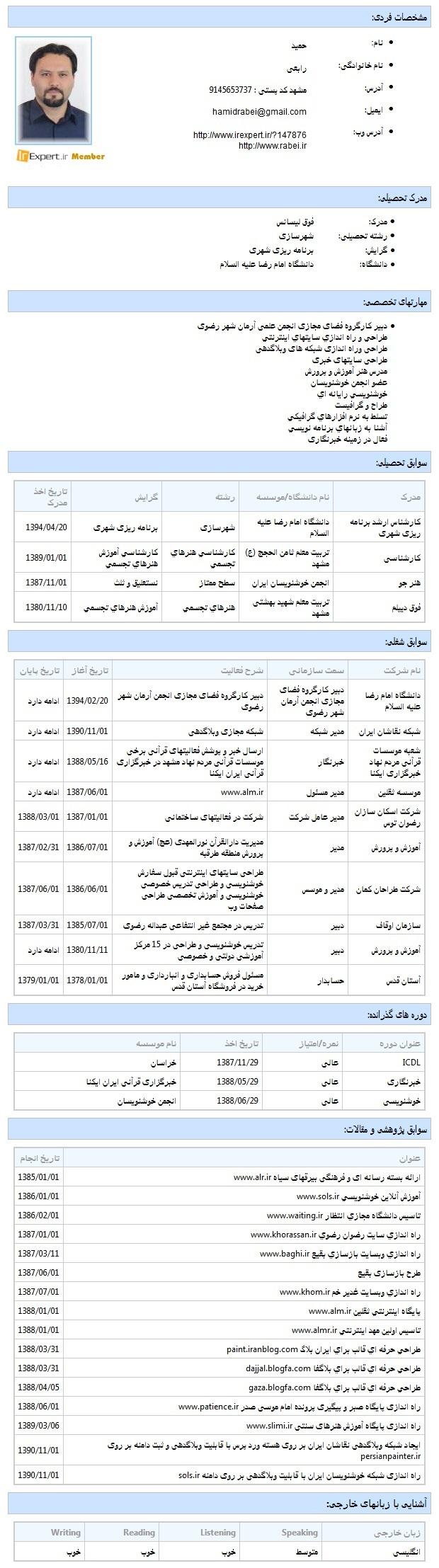 رزومه حمید رابعی
